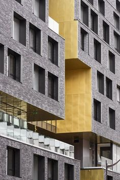 Image 3 of 34 from gallery of Day-Care And Young Workers Hostel / Chartier Dalix Architectes + Avenier Cornejo Architectes. Photograph by Luc Boegly Concrete Facade, Brick Facade, Brick Architecture, Architecture Details, Brick Projects, Foyers, Brick Detail, Black Brick, Student House