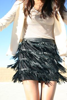 movement capture of outfit details. black fringe leather skirt and mesh