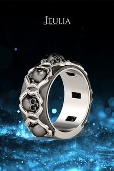 Classic Milgrain Rhodium Plating Sterling Silver Skull Ring #jeulia