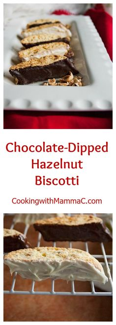 Chocolate-Dipped Hazelnut Biscotti get their flavor from hazelnut liquor and toasted hazelnuts! Dunk them in your coffee or favorite beverage for a delicious dessert, breakfast or snack!