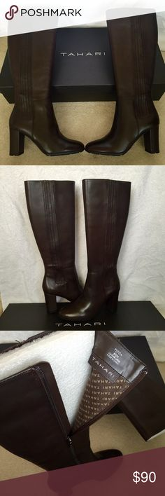 Tahari new espresso leather boots Never been worn, very beautiful leather boots. Color is New Espresso. 3 inches tall. Box included. Don't hesitate to ask questions or make offer!  Tahari Shoes Heeled Boots