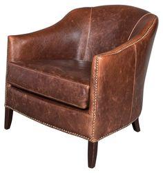 Madison Leather Club Chair, Saddle