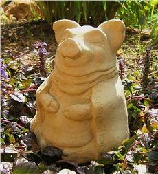 USA-Made Cast Stone Meditating Pig