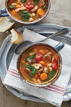 Chicken Sausage and White Bean Stew will welcome you home in the slow cooker