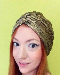 Solid Gold Turban hair scarf head piece hair wrap by RogueTurbans