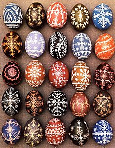 Examples of eggs decorated using the scratch-carve method from A. Tamosaitis, Lithuanian Easter Eggs, Lithuanian Folk Art Institute, Toronto, Canada, 1982.