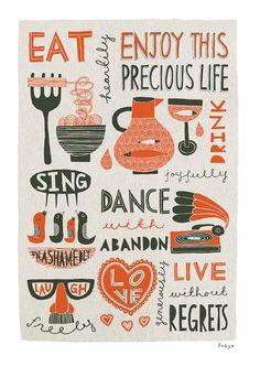 "A Freya Art & Design Fine Art Print ""Enjoy This Precious Life (Red)"" by artist Freya Ete; Applique Designs, Machine Embroidery Designs, Kitchen Art Prints, Graphic Design, Print Design, Menu Design, Stationery, Greeting Cards, Handmade Gifts"