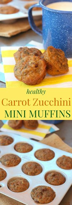 Healthy Carrot Zucchini Mini Muffins - Sweet, moist, and bite-sized little muffins filled with whole-grains and vegetables, but not a lot of added sugar. Perfect for breakfast or a healthy snack. One of my most popular recipes! | cupcakesandkalechips.com