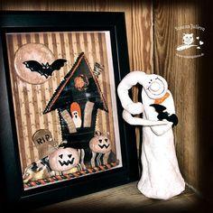 Meine selbstgemachte Halloween-Shadowbox und ein freundlicher Geist sind im Regal eingezogen.  #deko #homedecor #interior #interiordesign #autorenleben #bücher #writerslife #autorenalltag #writersofinstagram  #halloween #autumn #diy