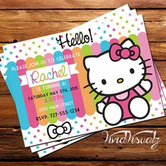 DESIGN  Hello Kitty  Birthday Invitation by VividVisualz on Etsy