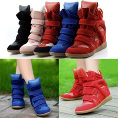 New Womens Grils Leather Sneakers Cute Velcro Hidden Heels Ankle Boots High Top Sneakers, Shoes Sneakers, Shoes Heels, Dress Link, Canvas Sneakers, Comfortable Fashion, Leather Sneakers, Fashion Shoes, Ankle Boots