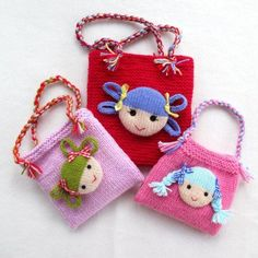 Jolly Dolly Bags - small purse for children with doll face - find the knitting pattern on LoveKnitting!