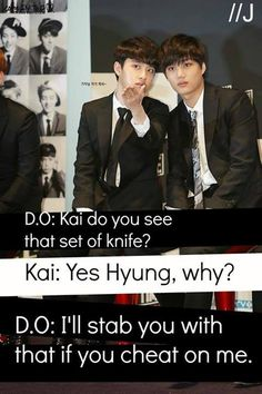 Hahaha Of course D.O. would Be The One to Do It! This is super cuteee! DONT YOU DARE KAI~shiiiiiii cheat on my baby!!!