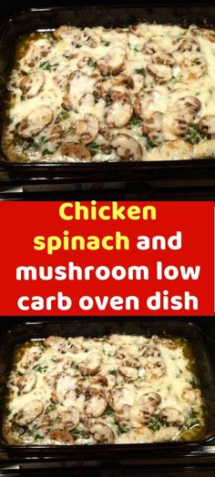 Chicken spinach and mushroom low carb oven dish Make this low carb dish for your. Chicken spinach and mushroom low carb oven dish Make this low carb dish for your. Chicken Spinach Mushroom, Spinach Stuffed Mushrooms, Spinach Stuffed Chicken, Chicken Mushrooms, Mushroom Dish, Chicken And Mushroom Casserole, Chicken Spinach Recipes, Low Carb Chicken Recipes, Low Calorie Recipes