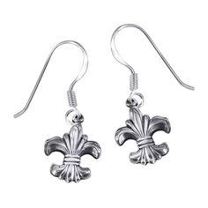 Floral Royalty Fleur de Lis .925 Silver Dangle Earrings (Thailand)