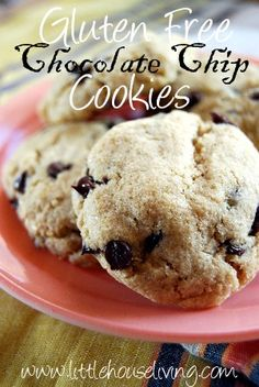 Easy Gluten Free (Rice Flour) Chocolate Chip Cookies (Note:  I reduce sugar and chocolate mini chips by ONE HALF - I crush the chips I do use to make it seem like more chips... they taste great!)