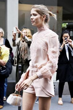 theStyleShake | Street Style |  Paris Couture Fashion Week - pink / blush lace detail blouse + shorts