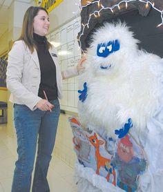 Abominable Snowman door decoration for Christmas classroom-bulletin-board-ideas
