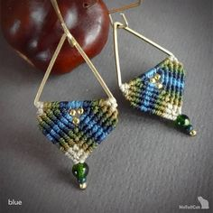 Handcrafted macrame earrings made with linhasita 0,5 mm thread, 925 sterling silver 24K gold plated beads, 24K gold plated copper earwires, brass triangle. These handcrafted ear hooks are specially designed to match with the sharp shapes of the brass triangle. The thin 0.5 mm