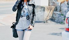 leather jacket, shorts & tights, and a t-shirt with a moped on it... winning