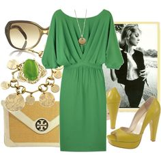 Great Spring Look: Thakoon Dress, Tory Burch Bag, Gucci Bracelet, Anna Beck Necklace, Chloe Sunglasses, Velvet Angels Heels + Jade Ring created by socialista