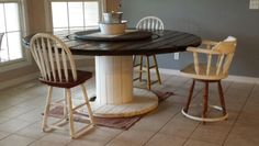 Wire spool table and refinished chairs