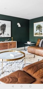Dark green walls contrast warm brown leather furniture and make the living . Dark green walls contrast warm brown leather furniture and make the living room … # brown # Dark Green Living Room, Dark Green Walls, Dark Living Rooms, Brown Walls, Living Room Paint, New Living Room, My New Room, Dark Walls, Living Room Decor Green