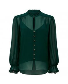 This sheer green shirt is perfect for after dark occasions. It's elevated with full-length balloon sleeves and a removable camisole, making it a perfect layer for dinner dates. Womens Fashion Online, Latest Fashion For Women, Fashion Forever, Forever New, Green Shirt, Sheer Blouse, Petite Fashion, Blouses For Women, Work Wear