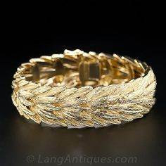 French 18K Textured Yellow Gold Bracelet - 40-1-3962 - Lang Antiques