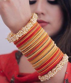 Bridal Bangles, Silver Bangles, Bridal Jewelry, Thread Bangles, Chuda Bangles, Fashion Earrings, Fashion Jewelry, Indian Jewelry Sets, Indian Bangles