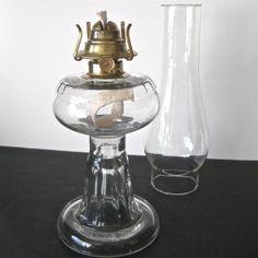 Vintage Glass Kerosene Lamp with El Dorado Brass by SugarLMtnAntqs, $69.95