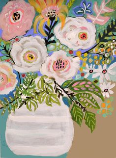 Summer Flowers in Vase by Karen Fields Acrylic on Watercolor Paper 18 x 24 1/2 white border around the artwork To frame your painting: EXAMPLES OF READY-MADE FRAMES https://www.pictureframes.com/custom-frames/Medium-Profile-Gold-Custom-Frame-BAM6