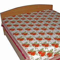 Amazon.com - Multicolored Cotton Bedsheet in Queen Size from India -