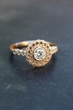 Engagement Ring That Was Created For A Special Bride ❤️ engagement ring rose gold art deco halo diamond round cut ❤️ See more: http://www.weddingforward.com/engagement-ring/ #wedding #bride #GoldJewelleryWedding