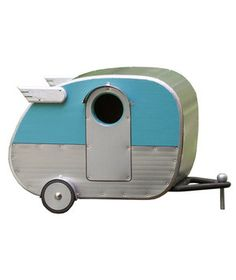 Although inspired by a mobile home, this camper can be a permanent spot for all of your feathery friends.