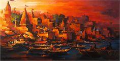Varanasi, Acrylic on Canvas Artist - Satheesh Kanna Acrylic Painting Lessons, Acrylic Art, Acrylic Paintings, Om Namah Shivaya, Hall Painting, Fairy Photography, Amazing Drawings, Varanasi, Pastel Art