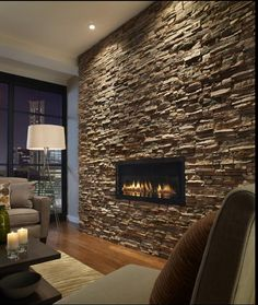 modern apartment with stone feature wall