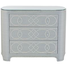 River Hollywood Regency Fabric 3 Drawer Nailhead Pattern Dresser   Kathy Kuo Home