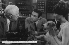0 Michèle Mercier with a fox terrier and jean gabin and robert hossein