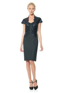 Sequin Bodice Neoprene Dress - Cocktail Dresses - Evening Shop | Tadashi Shoji