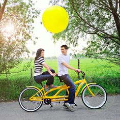 Yellow Tandem Bicycle E-Shoot