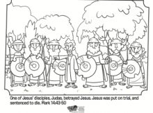 Jesus is Betrayed by Judas Coloring Page