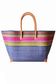 Half Blue Woven Multicolored Bag
