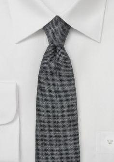 Krawatte Wolle  grob strukturiert silbergrau