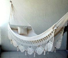 One Color Single Hammock hand-woven Natural Cotton Triangle Fringe Crochet Hammock, Indoor Hammock, Hammocks, Hammock Bed, Hammock Ideas, Hammock Stand, Mayan Hammock, Garden Hammock, Home Decor