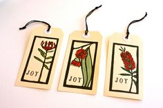 6 Christmas Gift Tags - Hand Painted Australian Wildflower Linoprint - Luggage Style Gift Packaging. $10.00, via Etsy.