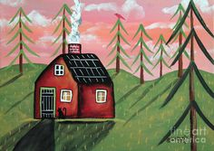 Fall Cabin Painting by Karla Gerard