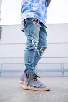 Blue Distressed Zip Jeans