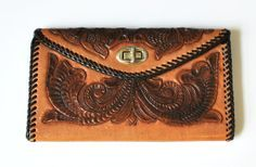 Hand-tooled leather wallet/purse