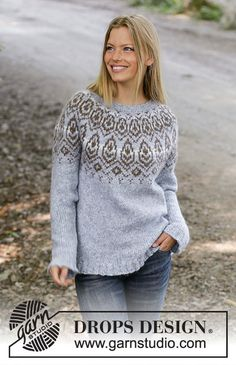 Winter heart / DROPS - free knitting patterns by DROPS design Knitted sweater in DROPS Nepal or DROPS Air. The piece is knitted from top to bottom with a Nordic pattern and round yok. Fair Isle Knitting, Loom Knitting, Free Knitting, Drops Design, Sweater Knitting Patterns, Knit Patterns, Nordic Pattern, Pull Jacquard, Icelandic Sweaters